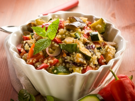 quinoa sald with vegetables, vegetarian food photo
