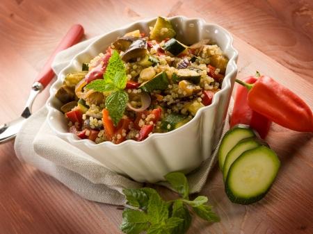quinoa sald with vegetables, vegetarian food
