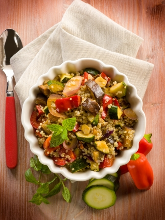 quinoa sald with vegetables, vegetarian food