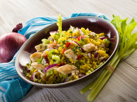 chicken salad: rice salad with chicken celery onions and chili pepper