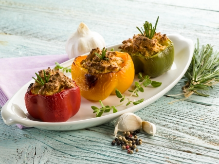 mediterranean cuisine: capsicum stuffed with tofu,vegetarian food