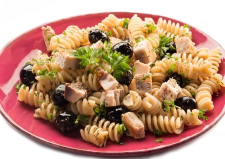 fusilli with swordfish and black olives photo