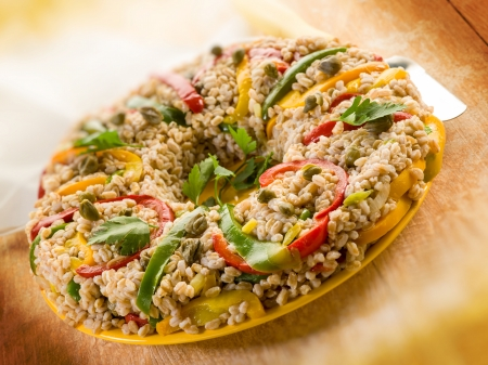 spelt doughnut with capsicum capers and parsley, vegetarian food