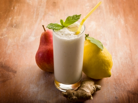 milkshake with pears ginger and lemon Stock Photo