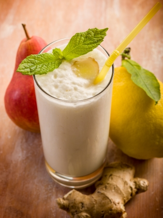 milkshake with pears ginger and lemon photo