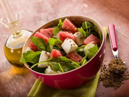 fennel seeds: salad with water-melon, arugula feta cheese and fennel seed