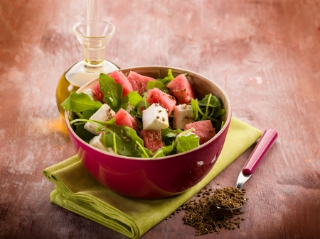 fennel seed: salad with water-melon, arugula feta cheese and fennel seed