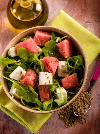 salad with water-melon, arugula feta cheese and fennel seed photo