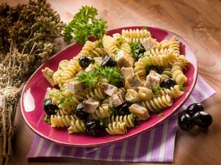 fusilli: fusilli with swordfish and black olives