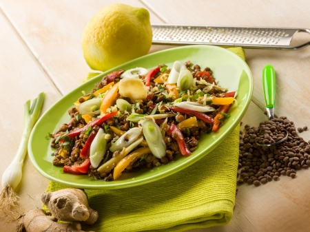 capsicum: lentils salad with capsicum onions ginger and grated lemon peel