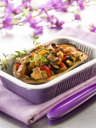 eggplant stuffed with tofu capsicum and zucchinis, veggie food photo