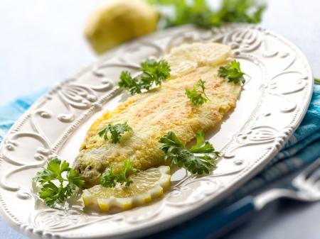 breaded sole fish, selective focus