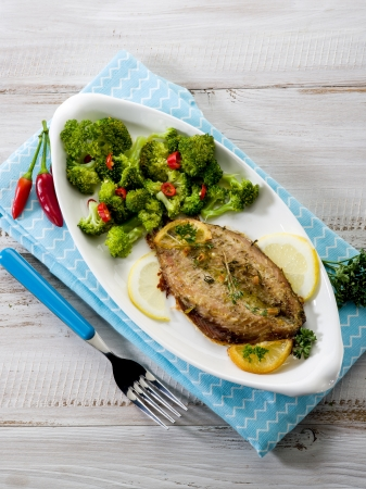 cooked fish: mackerel with steamed broccoli