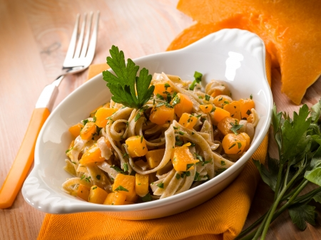 tagliatelle with pumpkins and parsley, vegetarian food