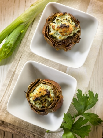 stuffed artichoke, vegetarian fod photo