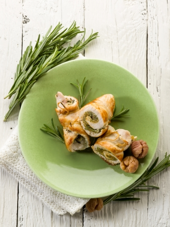 stuffed roll of turkey with chestnut and rosemary Stock Photo - 15960098
