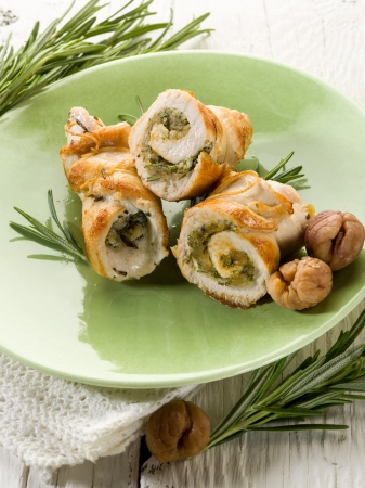 stuffed roll of turkey with chestnut and rosemary Stock Photo - 15960135