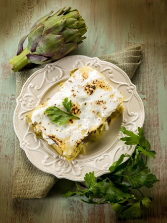 artichoke  lasagne vegetarian food photo