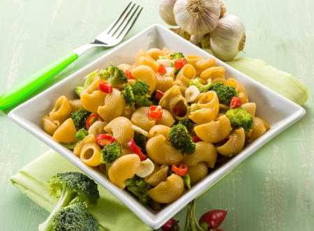 pasta with broccoli garlic and hot chili pepper photo