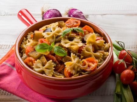 pasta with eggplants and pachino tomatoes Stockfoto