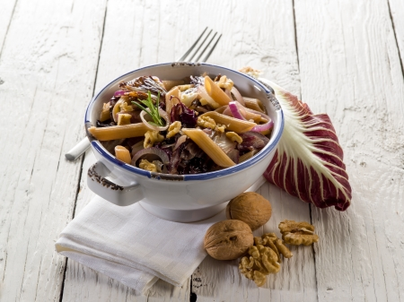 chicory: pasta with chicory and nuts, vegetarian food