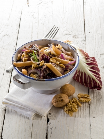 pasta with chicory and nuts, vegetarian food