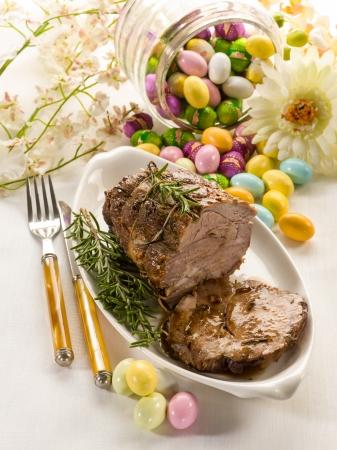 pasen schaap: geroosterd vlees met Pasen tafel