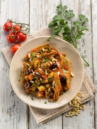 pine nuts: caponata with atichoke and pine nuts