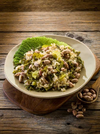risotto with savoy cabbage and beans, vegetarian food