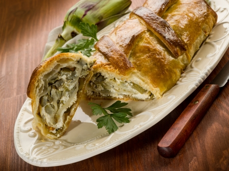 strudel with artichoke and ricotta, vegetarian food Stock Photo - 17149496