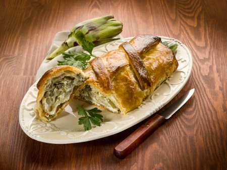 strudel with artichoke and ricotta, vegetarian food Stock Photo - 17149587