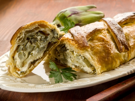 strudel with artichoke and ricotta, vegetarian food Stock Photo - 17149497