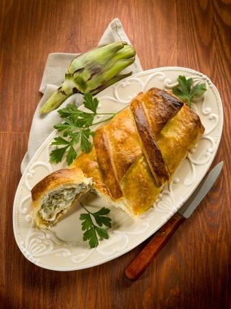 strudel with artichoke and ricotta, vegetarian food Stock Photo - 17291543