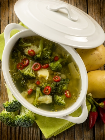 potato soup: soup with broccoli and potatoes, vegatarian food