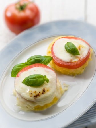mozzarella tomatoes and porridge, selective focus photo