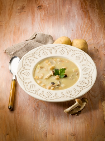 potato soup: soup with chickpeas mushroom and potatoes, vegetarian food