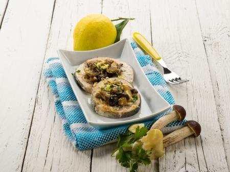 sicily: grilled swordfish with mushrooms and lemon peel Stock Photo