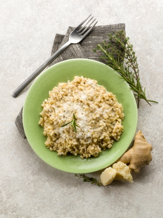 integral: integral risotto with ginger rosemary  parmesan  and gorgonzola cheese