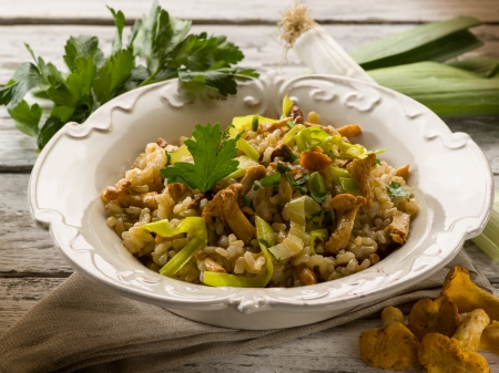 leek: risotto with mushrooms and leek Stock Photo