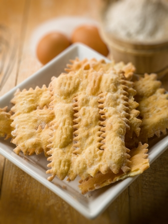 chiacchiere: chiacchiere typical carnival dessert, selective focus