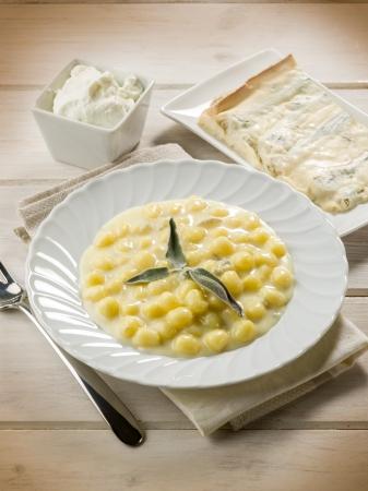 homemade gnoochi with gorgonzola Stockfoto