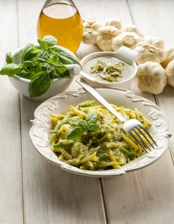 pesto trofie typical genoa recipe Stock Photo - 17869375