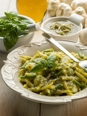 pesto trofie typical genoa recipe photo