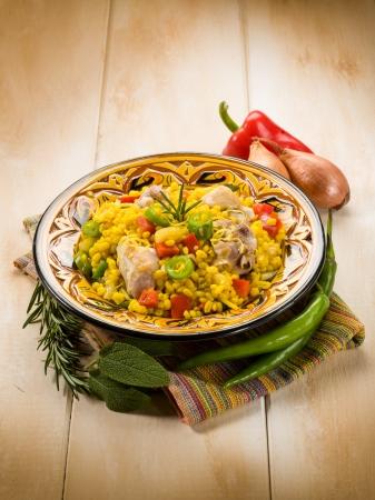 kitchen spanish: chicken paella Stock Photo