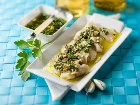cod oil: cod fillet  marinated with parsley anchovy and garlic