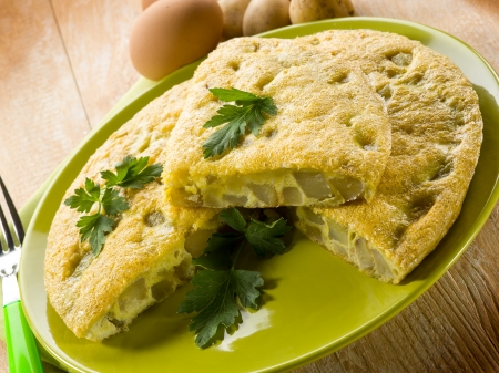 omelet: omelette with potatoes Stock Photo