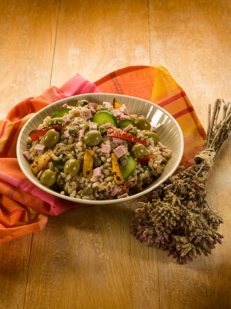 spelt sald with vegetables and ham photo