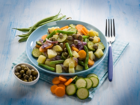 steamed mixed vegetables with capers photo