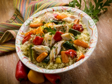 couscous: couscous with fish and vegetables
