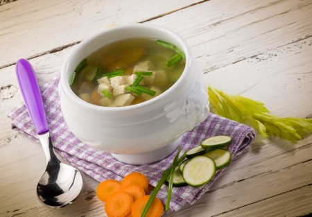 hashi: soupe with tofu and vegetables Stock Photo